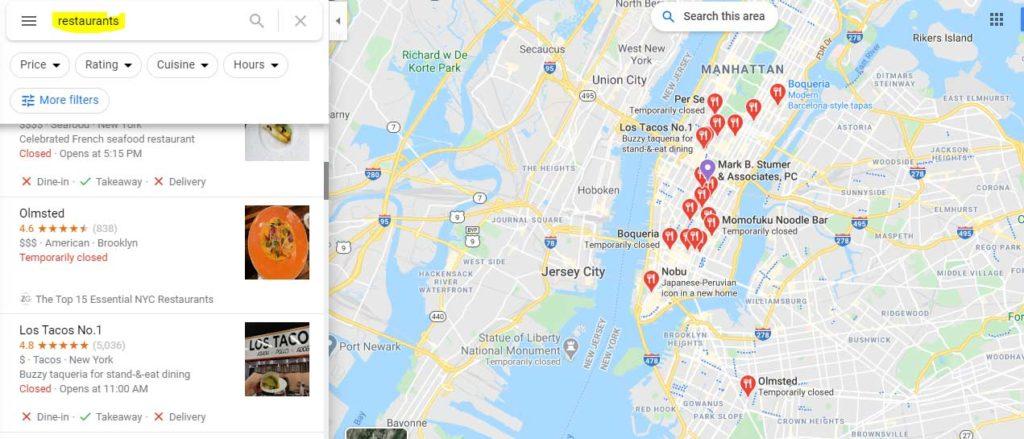 restaurant list in New York